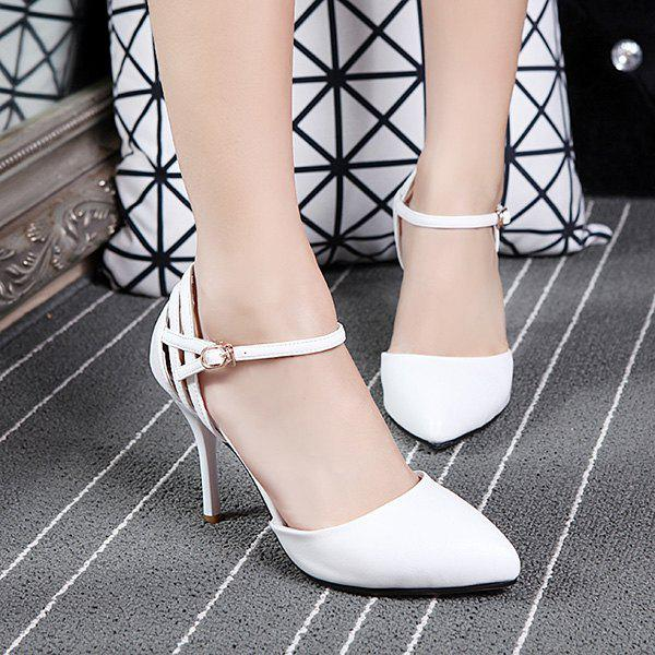 Fashionable Two-Piece and Solid Colour Design Women's Pumps - WHITE 39