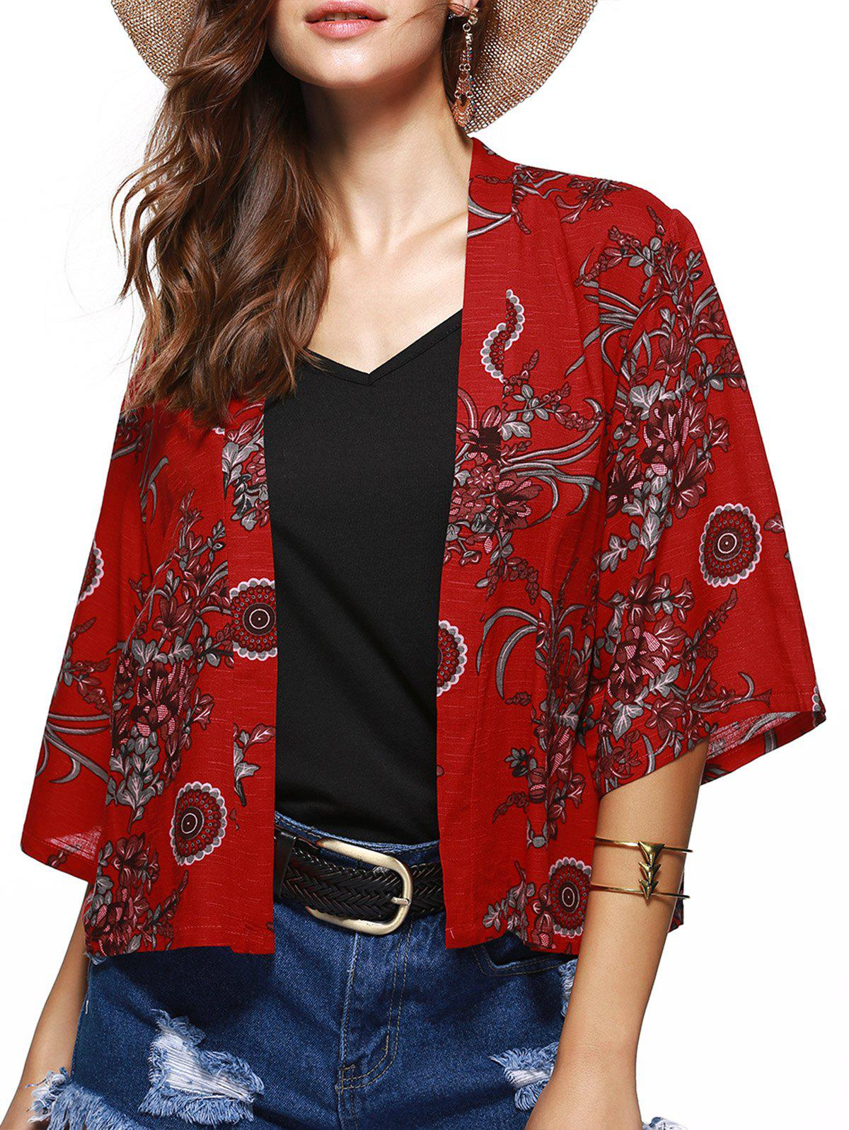 Flower Ethnic Jacquard Print Collarless Short Kimono - RED M