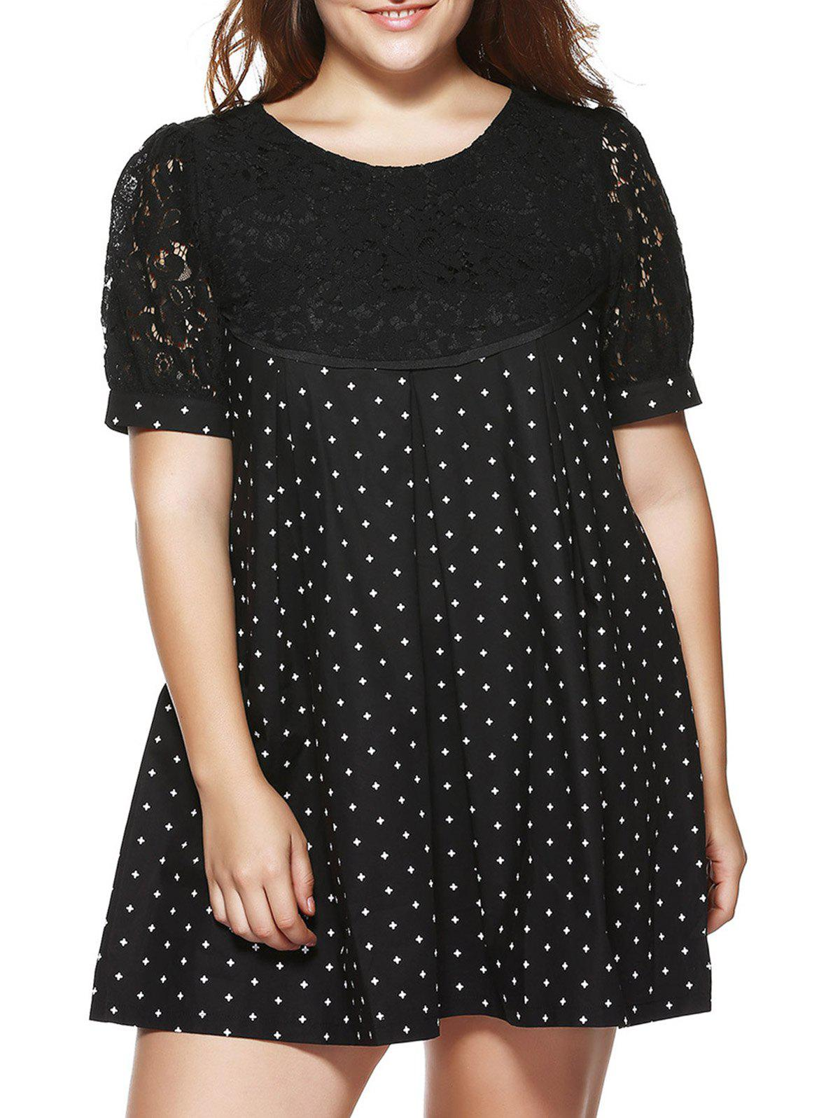 Oversized Cute Puff Sleeve Lace Splicing Dress - BLACK 4XL