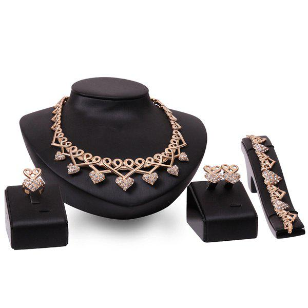 A Suit of Heart Shape Rhinestone Necklace and Bracelet Earrings and Ring - ROSE GOLD
