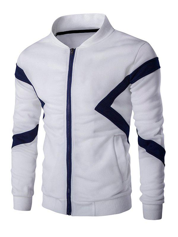 Color Splicing Napping Zip Up Men's Long Sleeve Jacket - WHITE 2XL