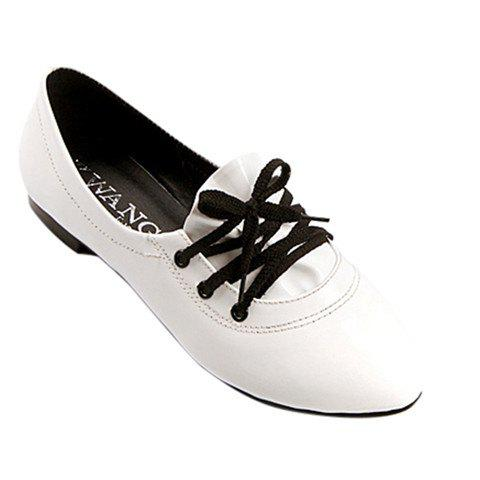 Stylish Solid Color and Tie Up Design Women's Flat Shoes - WHITE 39