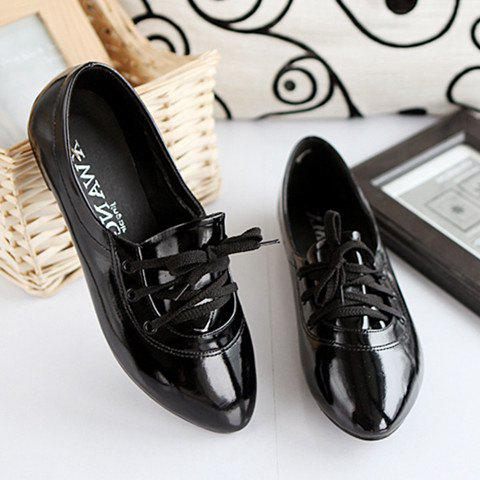 Stylish Solid Color and Tie Up Design Women's Flat Shoes - BLACK 38