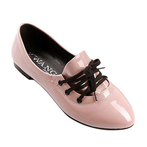 Stylish Solid Color and Tie Up Design Women's Flat Shoes - PINK 42