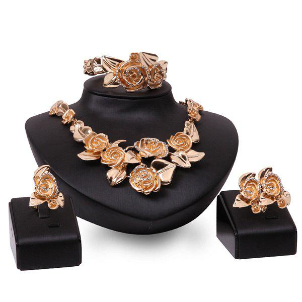 A Suit of Rose Rhinestone Charm Necklace Earrings Bracelet and Ring - ROSE GOLD