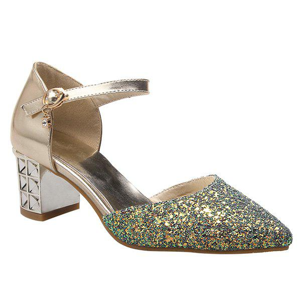 Stylish Sequined and Two-Piece Design Women's Pumps - GOLDEN 39