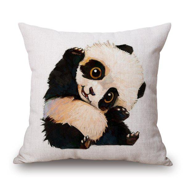 Chic Style Plain Base Bearcat Cartoon Pattern Sofa Pillow Case