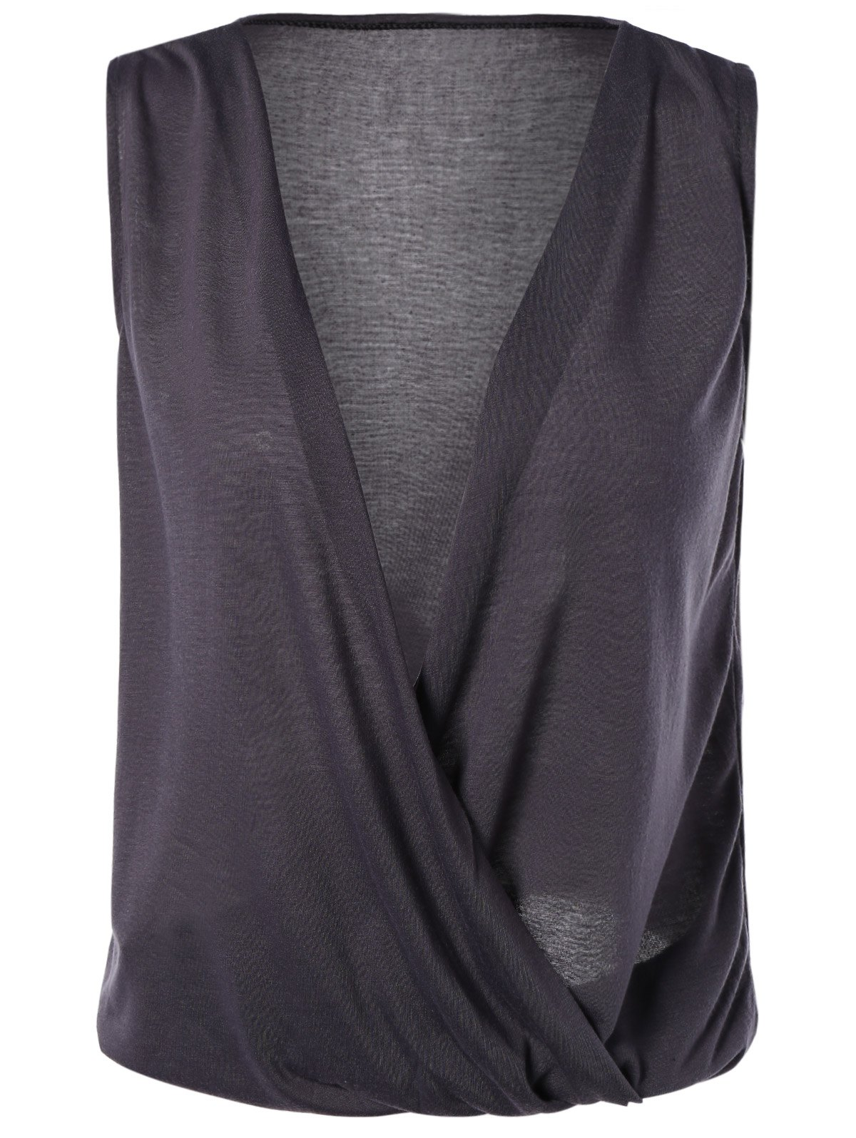 Fashionable Women's Plunging Neck Cap Sleeve Wrap Top - DEEP GRAY L