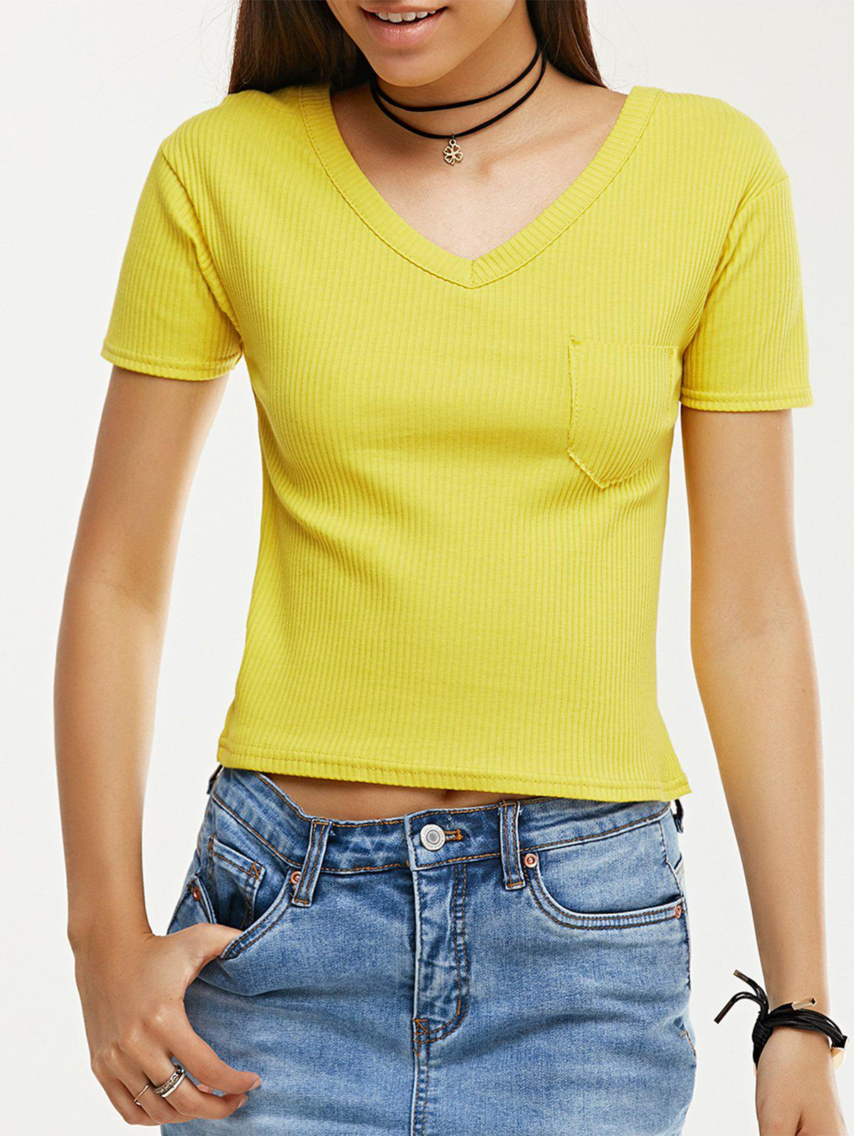 V-Neck Short Sleeve Ribbed Crop TopWomen<br><br><br>Size: ONE SIZE<br>Color: YELLOW