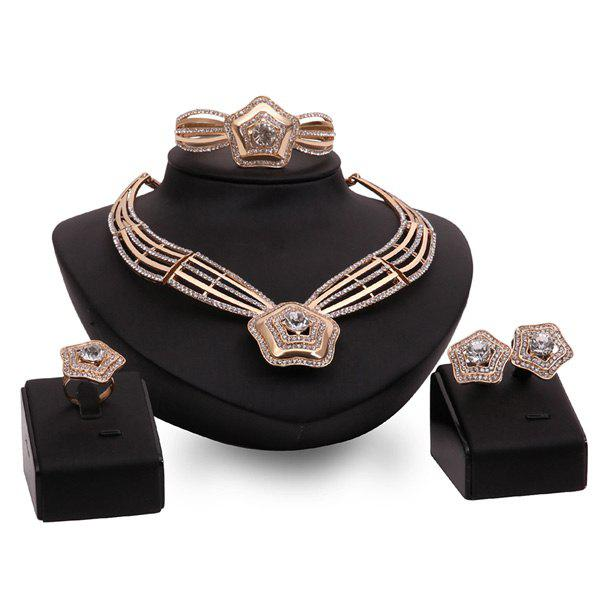 A Suit of Stunning Rhinestone Star Necklace and Bracelet Earrings and Ring For Women