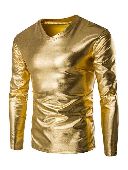 Fahionable V-Neck Long Sleeves Shiny T-Shirt For Men инфракрасный обогреватель neoclima shaft 2 5