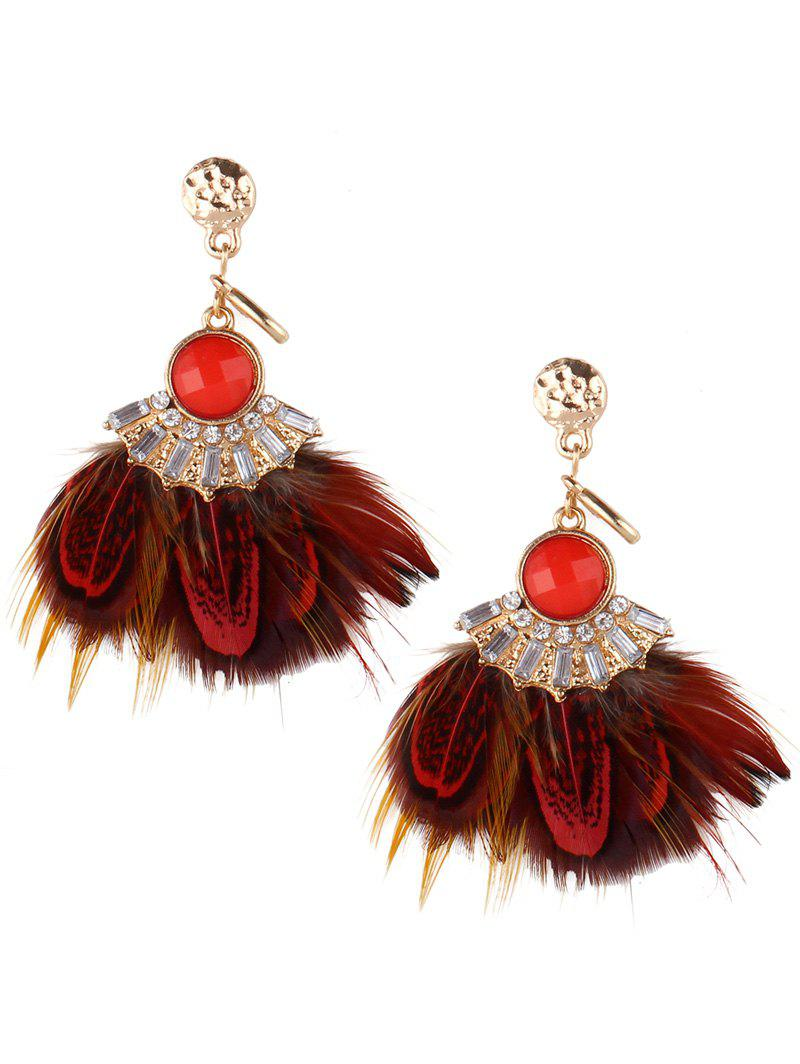 Rhinestone Faux Gem Feather Earrings - RED