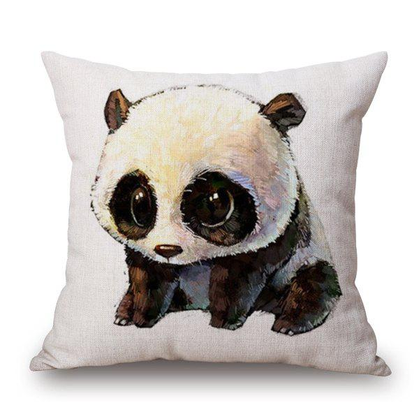 Panda Print Cartoon Sofa Bedding Pillow Case - WHITE