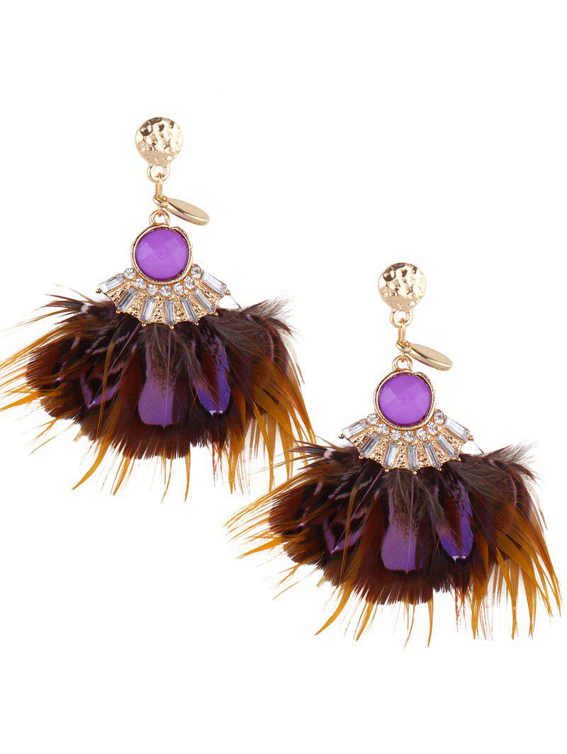 Stylish Rhinestone Feather Drop Earrings - PURPLE