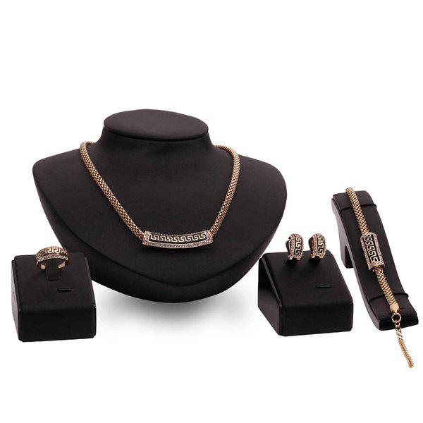 A Suit of Carved Geometric Necklace and Bracelet Earrings and Ring - ROSE GOLD