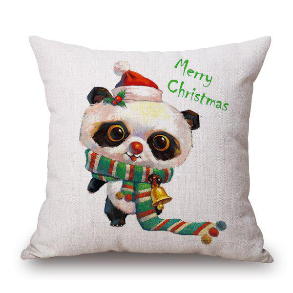 Merry Christmas Cartoon Panda Throw Pillow Case - WHITE