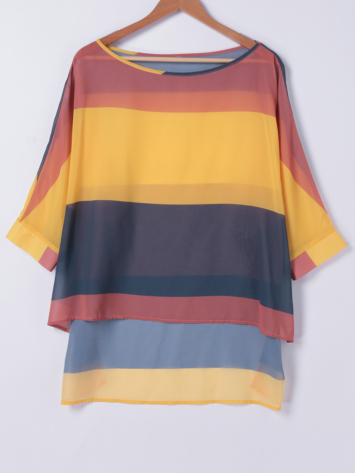 Loose Fitting Color Block High Low T-Shirt