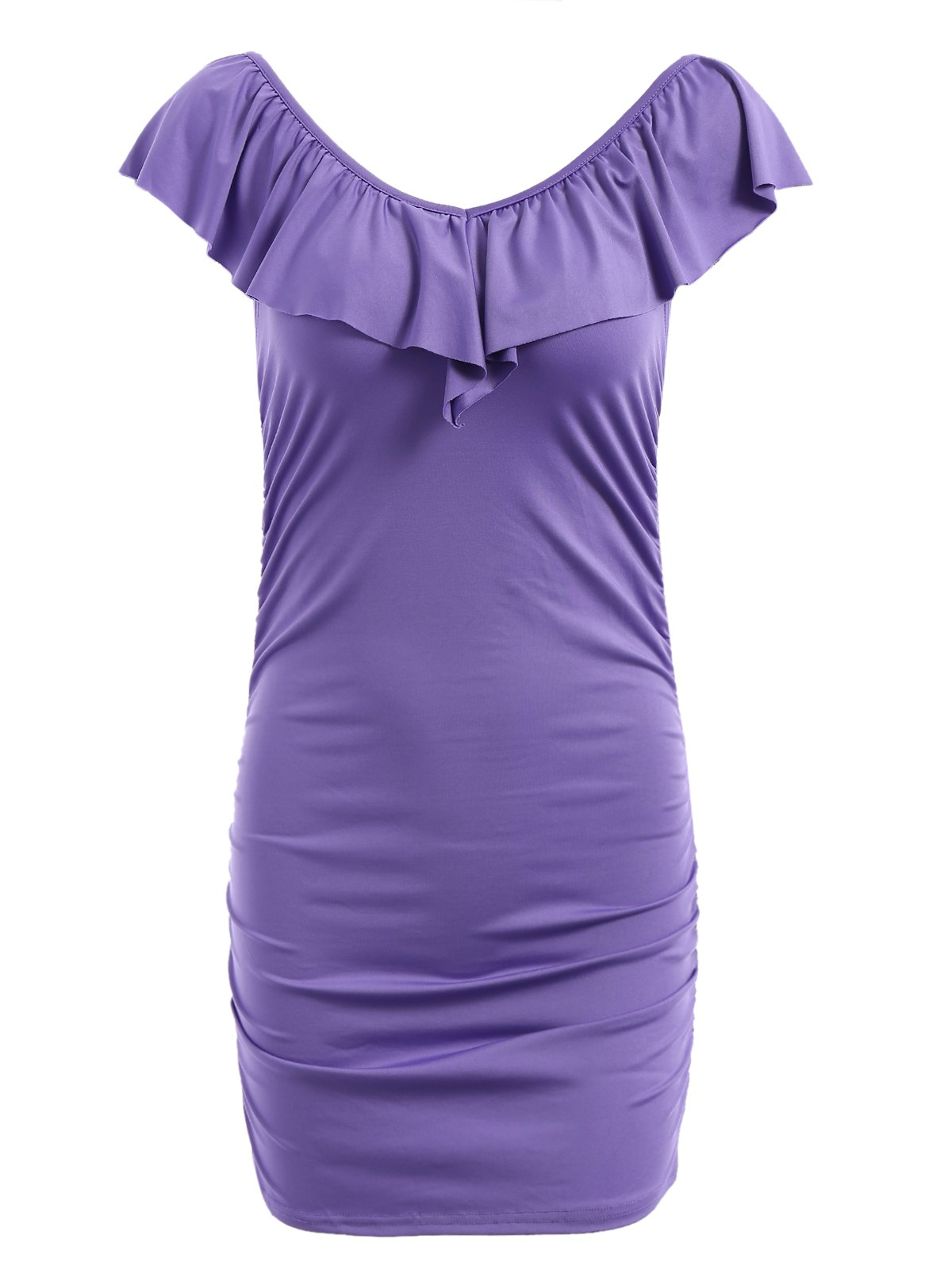 Fresh Style Solid Color Flounce V-Neck Bodycon Dress For Women - PURPLE M