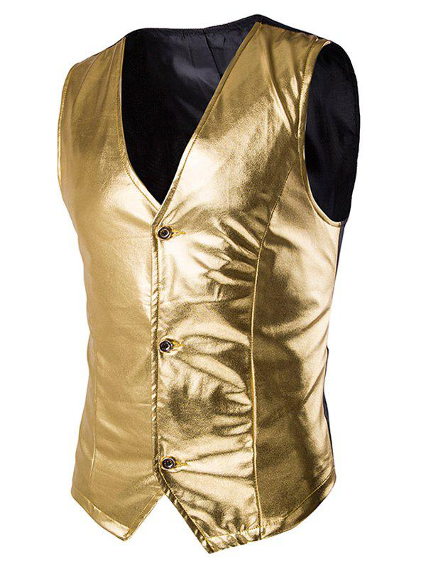 s 'Single Breasted Vest Metallic Spliced ​​Men - Or 2XL