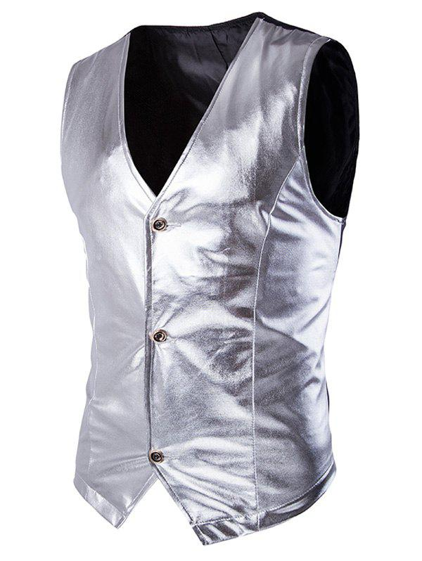 Metallic Spliced Men's Single Breasted Vest - SILVER 2XL