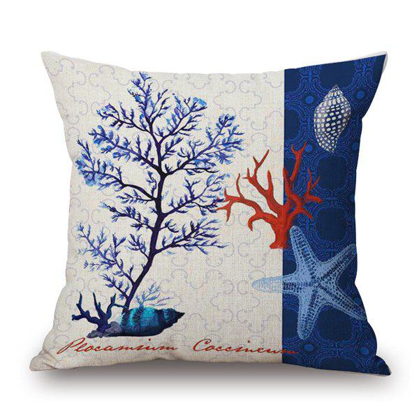 Trendy Marine Organism Seagrass Starfish Pattern Sofa Pillow Case - BLUE/WHITE