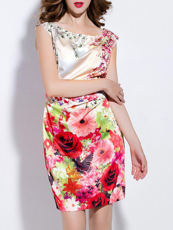 Elegant Sleeveless Floral Print Mini Sheath Dress