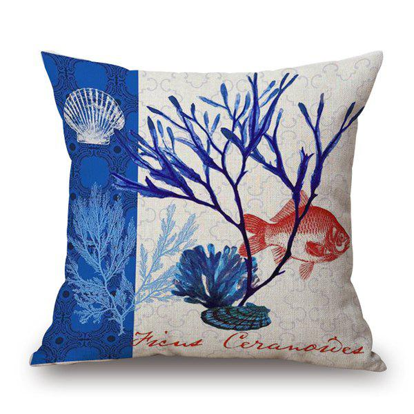 Fashionable Marine Organism Seagrass Fish Pattern Square Pillow Case - BLUE/WHITE