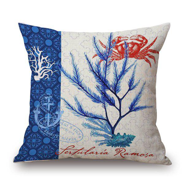 Hot Sale Marine Organism Seagrass Crab Pattern Square Pillow Case - BLUE/WHITE