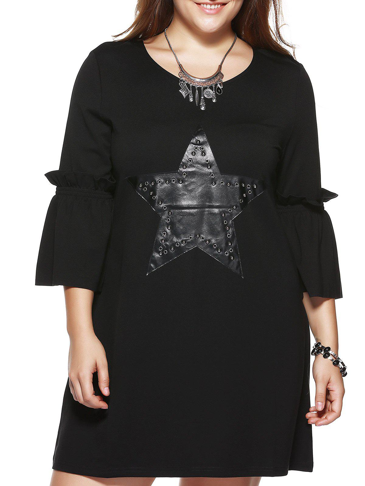 Oversized Chic Star Pattern Flare Sleeve Dress - BLACK 4XL
