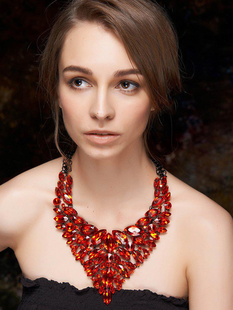 Layered Faux Ruby Necklace - RED