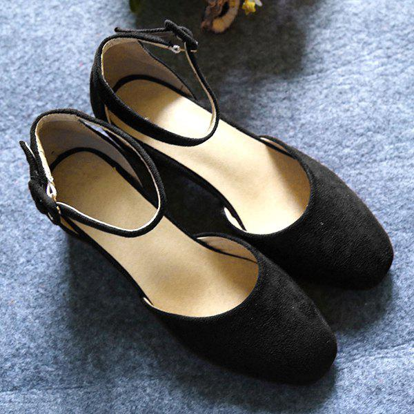 Simple Two-Piece and Square Toe Design Women's Pumps - BLACK 38