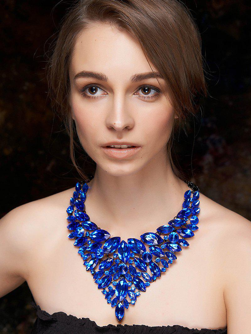 Layered Faux Sapphire Necklace - BLUE