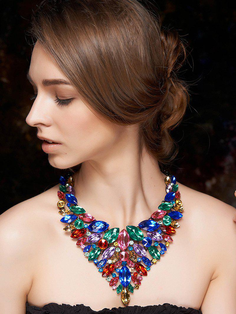 Stylish Colorful Faux Crystal Necklace - COLORMIX