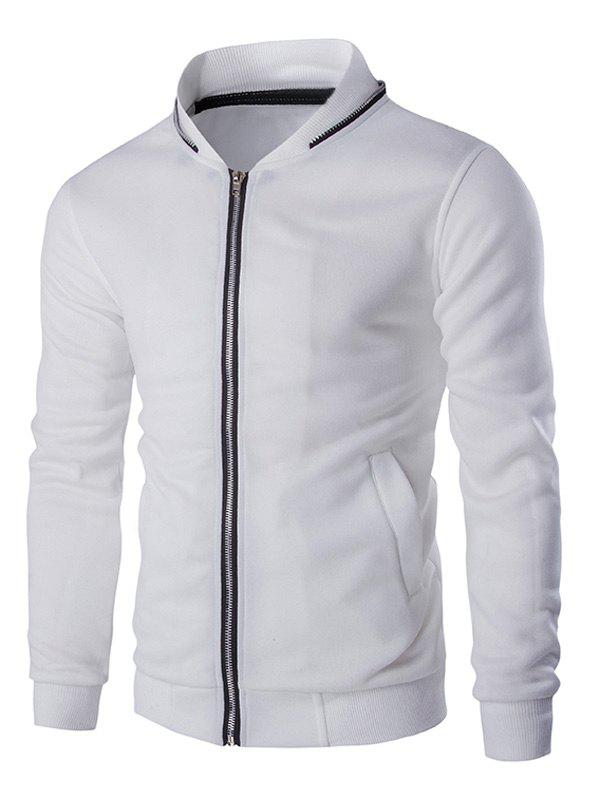Zippered Napping Rib Long Sleeve Men's Jacket - WHITE 2XL