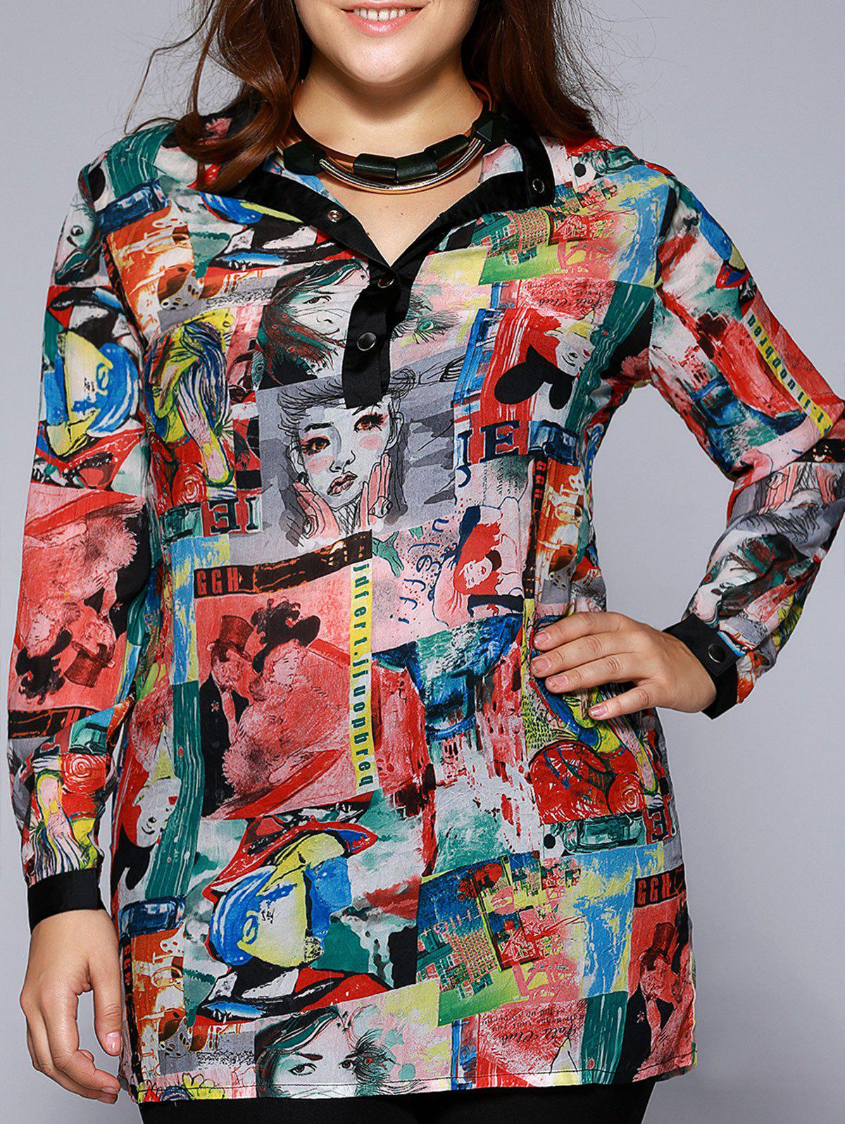 Oversized Stylish Beauty Print Metal Buttoned Blouse - COLORMIX 4XL