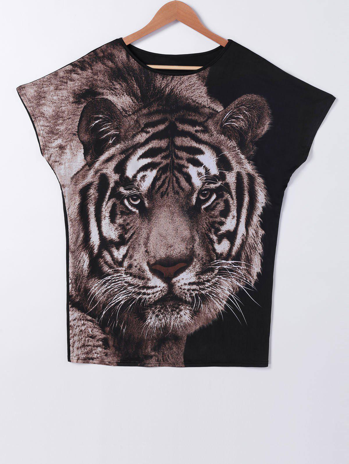 Batwing Sleeve Tiger Pattern T-Shirt - BLACK XL