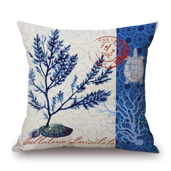 Fresh Style Turtle Seagrass Marine Organism Pattern Sofa Pillow Case