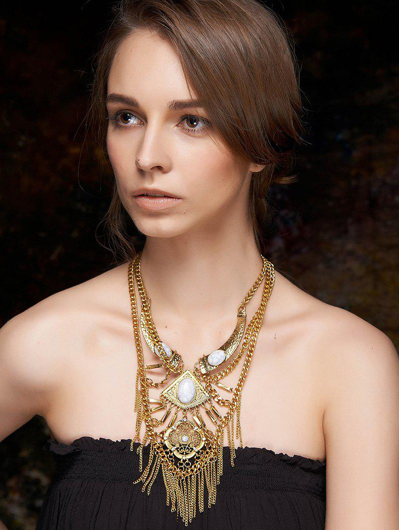 Layered Fringed Statement Necklace - GOLDEN