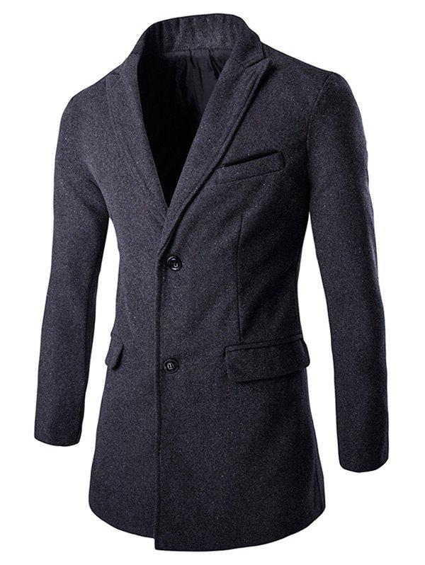Single-Breasted Solid Color Men's Turn-down Collar Long Sleeves Coat - 2XL GRAY