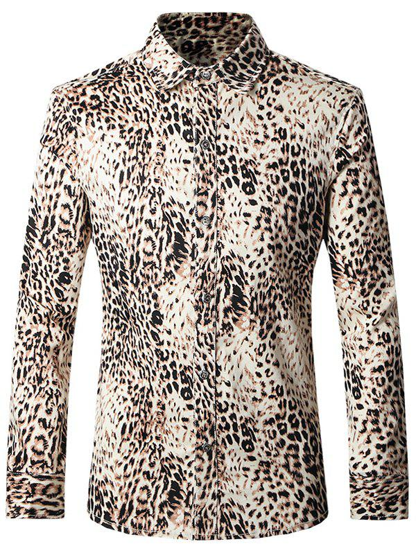 Plus Size Leopard Turn-Down Collar Long Sleeves Shirt For Men - COLORMIX 5XL