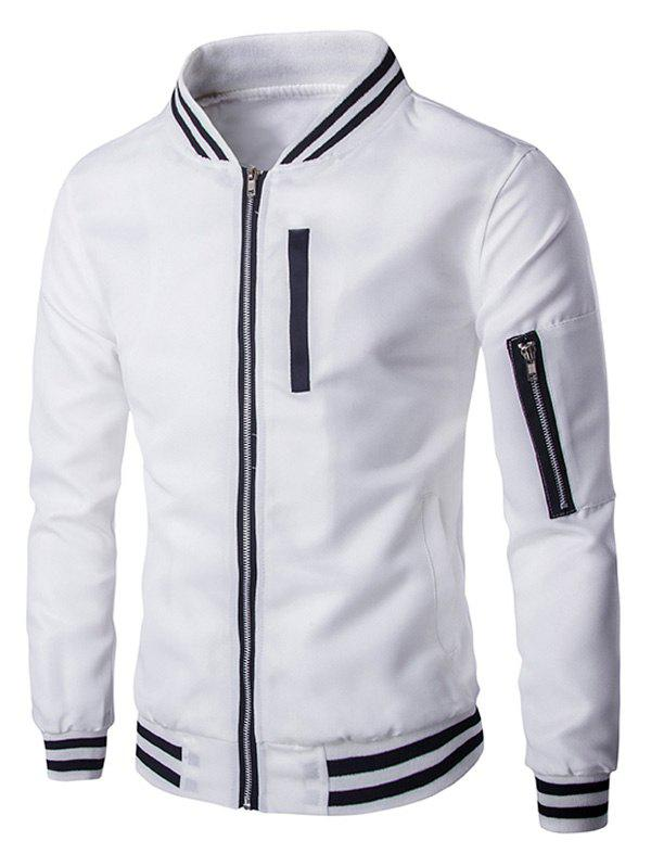 One Zipper Pocket Embellished Jacket - WHITE 2XL
