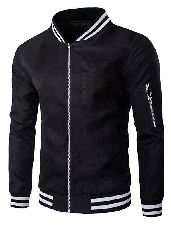Zippered Varsity Rib Long Sleeve Men  's Jacket - Noir XL