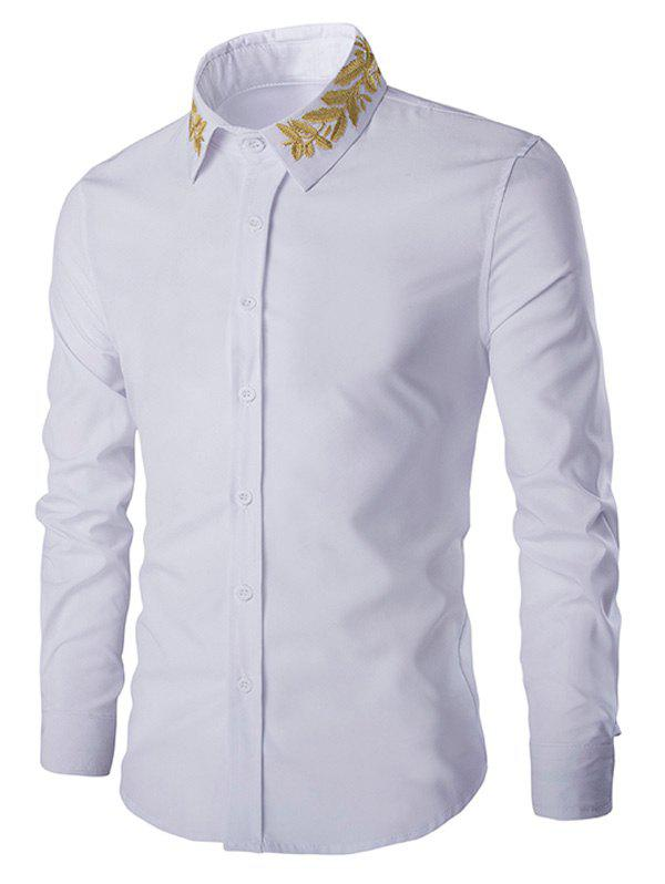 Shirt Collar Golden Leaves Embroidered Long Sleeves Shirt - WHITE 2XL
