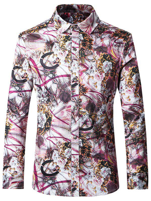 Plus Size Chic Printed Turn-Down Collar Long Sleeves Shirt For Men - COLORMIX 5XL