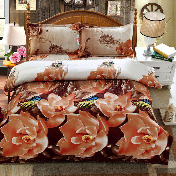 4PCS 3D Stylish Butterfly Flower Reactive Print Duvet Cover Bedding Set - COLORMIX FULL