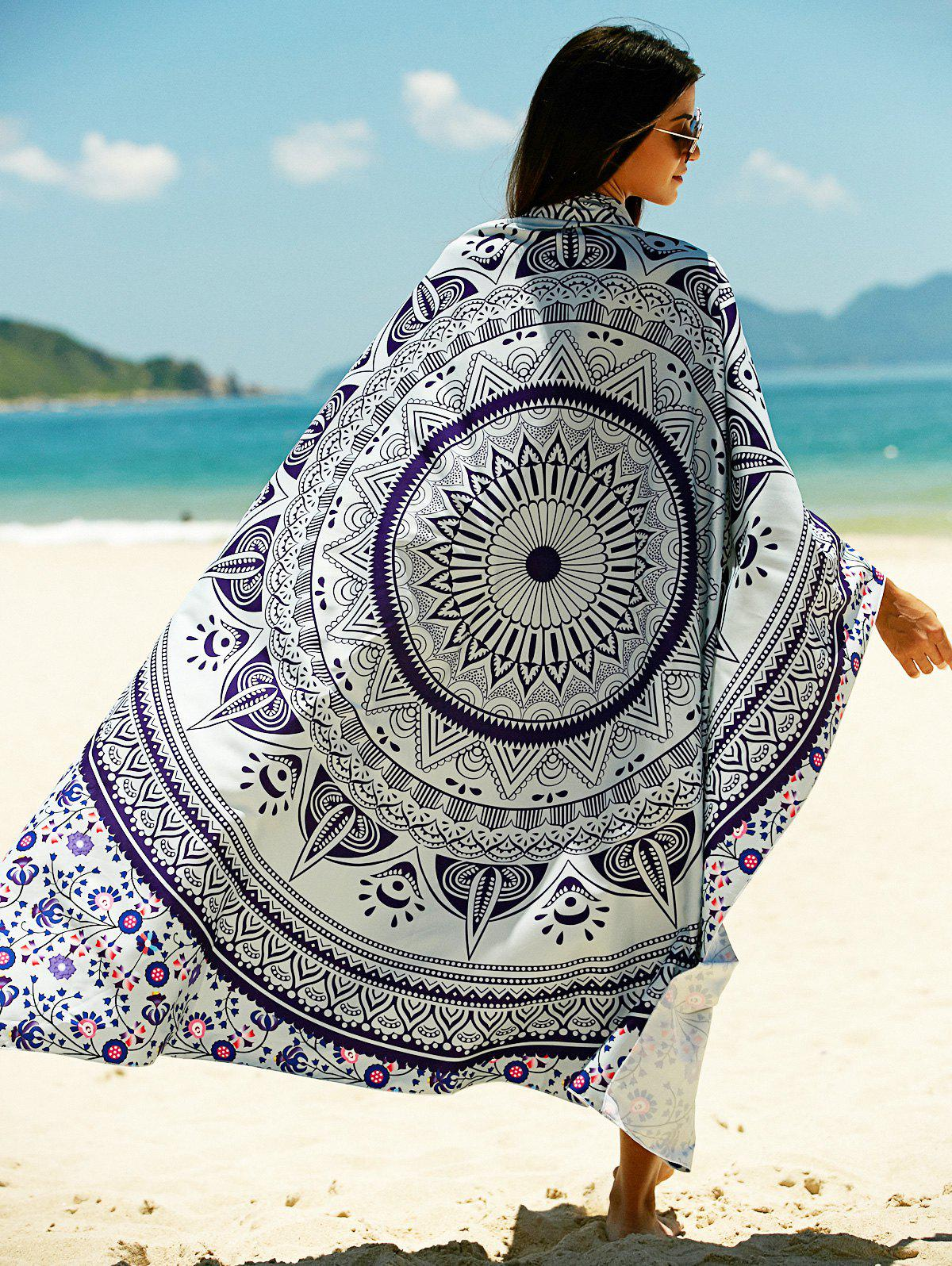 Tribal Pattern Sun Resistant Cover Up - LIGHT BLUE ONE SIZE
