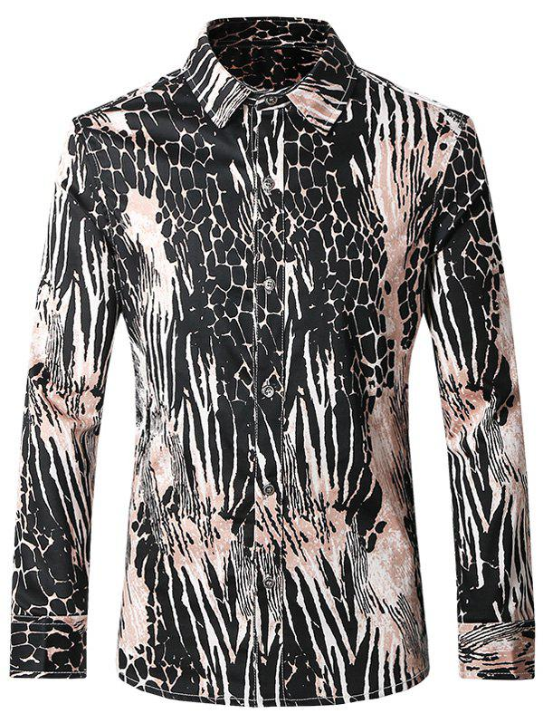 Plus Size Chic Pattern Printed Turn-Down Collar Long Sleeves Shirt For Men - COLORMIX 5XL