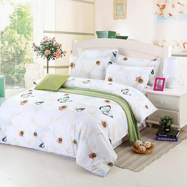 4PCS Hot Selling Love of Butterfly Print Romantic Bedding Set - COLORMIX FULL