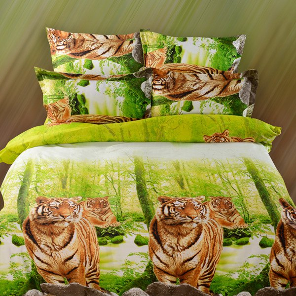 4PCS 3D Stylish Tiger Reactive Print Duvet Cover Bedding Set