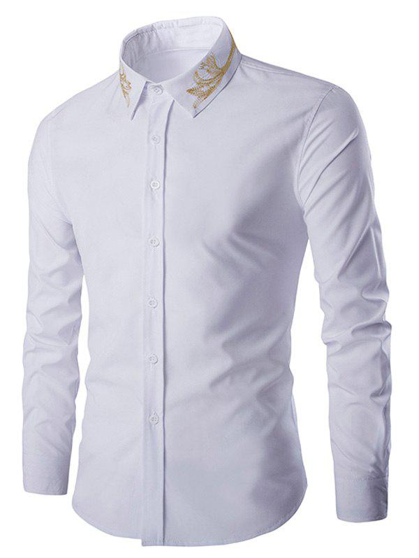 Golden Embroidery Solid Color Men's Long Sleeves Shirt - WHITE 2XL